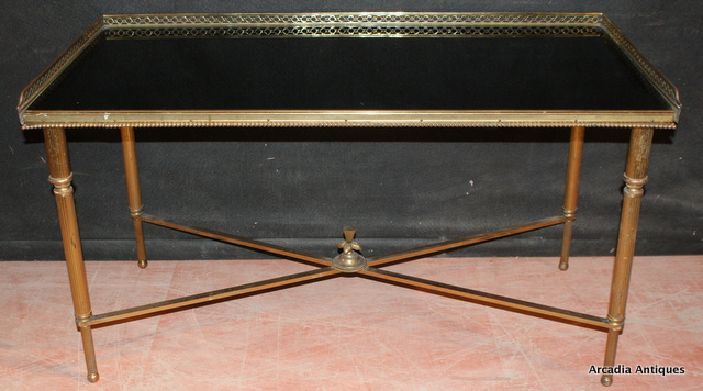 Brass and Black Glass Table
