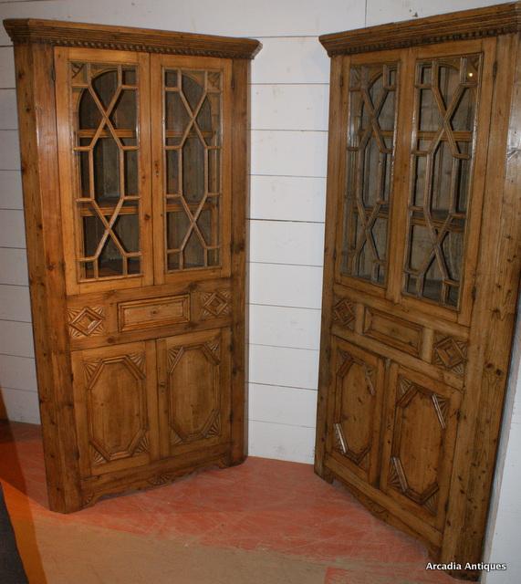 Pair of Irish Pine Corner Cupboards