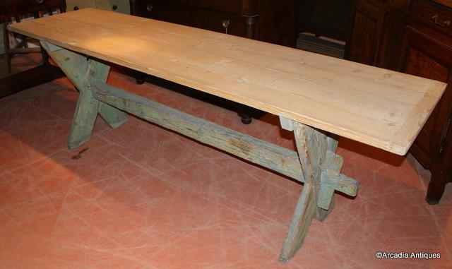 Original Painted Trestle Table ...
