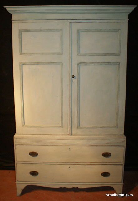 Georgian Painted Pine Linen Cupboard Antique CUPBOARDS