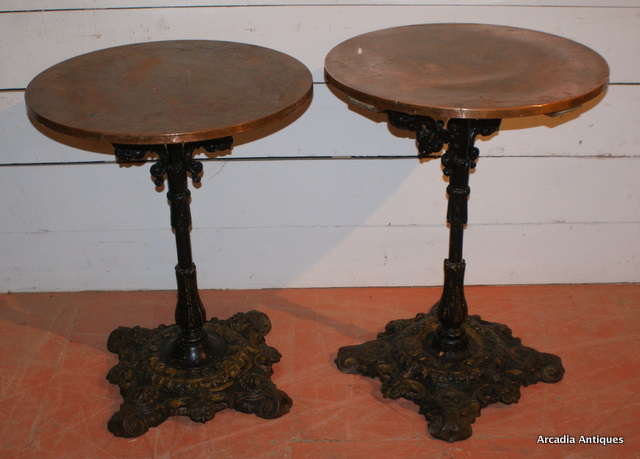 High Quality Pair Of Cast Iron U0026 Copper Pub Tables ...