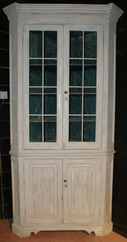 Antique Painted Corner Cupboard