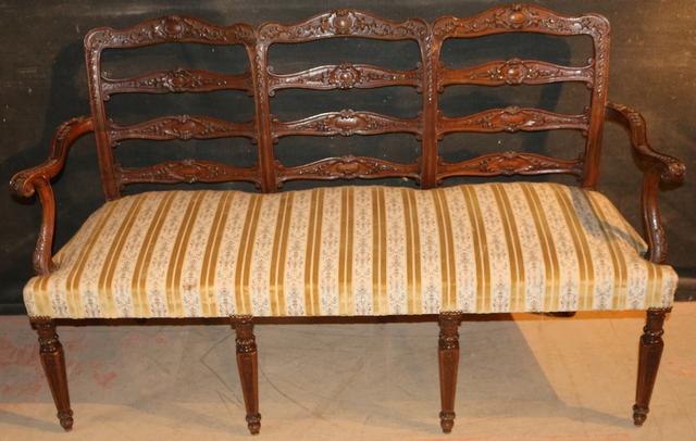 Italian Carved Walnut bench