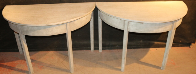 Painted Demi Lune console tabes