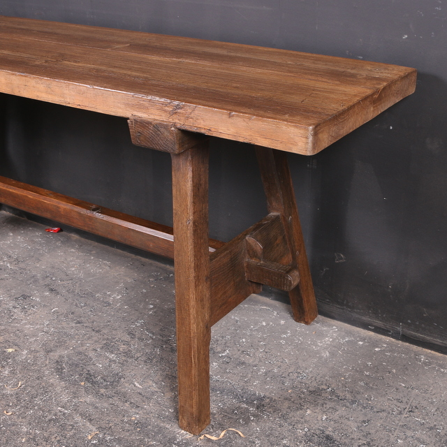 Pine and Oak Trestle Table