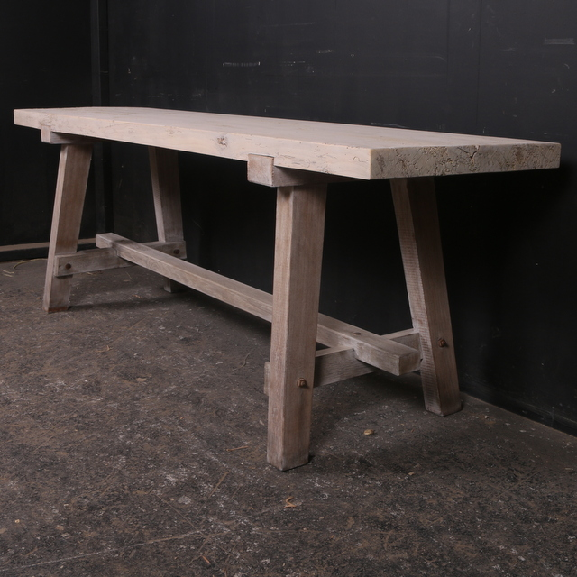 Oak and Sycamore Trestle Table