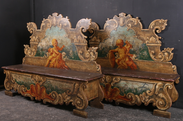 Pair of Italian Hall Benches