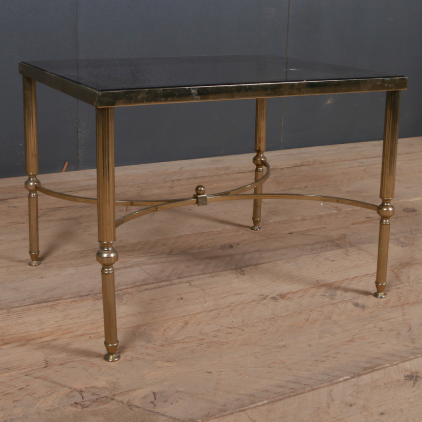 1920s Brass and Glass Lamp Table