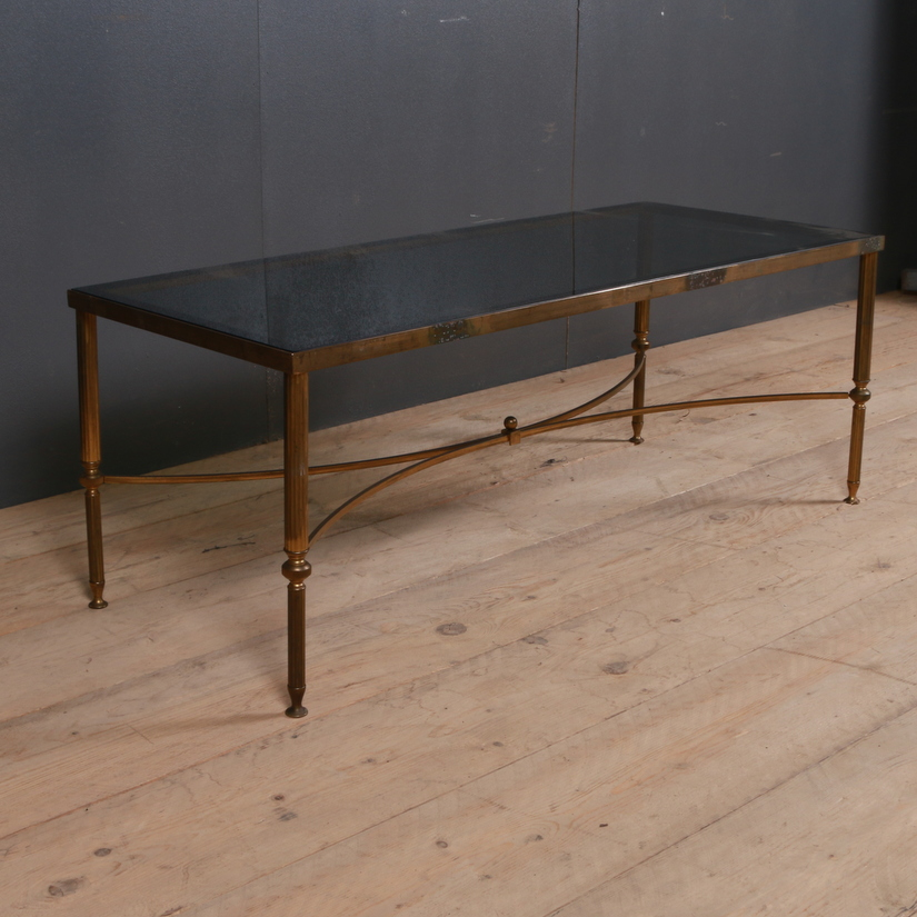 1950s Brass and Glass Coffee Table