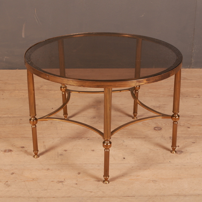 1950s French Brass and Glass Table