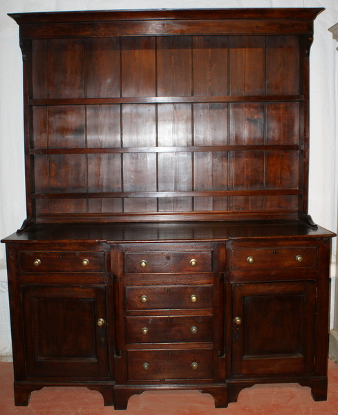 Oak And Fruitwood Breakfront Dresser.