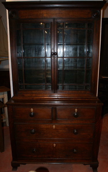 19th C Welsh Oak Glazed Bookcase.