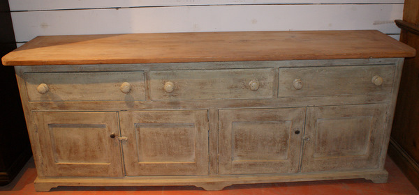 19th C Original Painted Pine Dresser Base