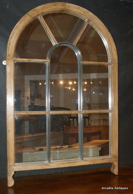 Antique Pine Window Mirror
