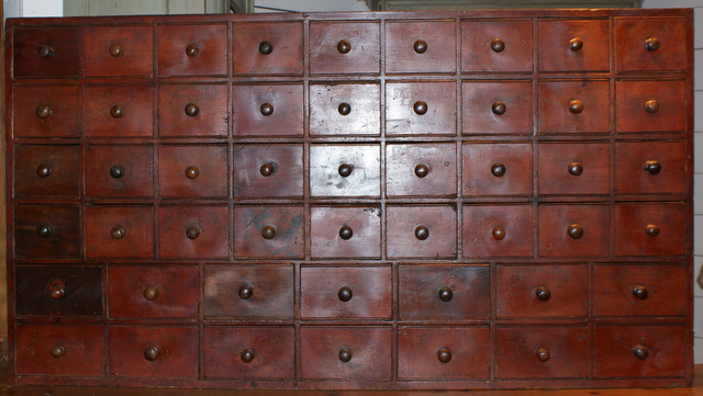 Original Painted Bank Of Drawers