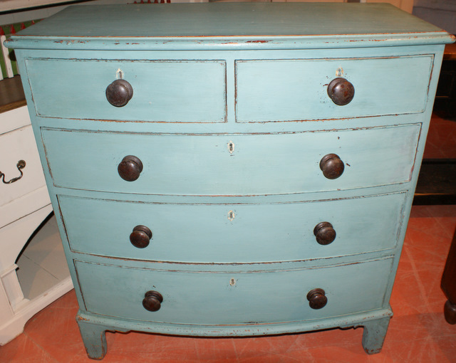 Cornish Painted Pine Bow Front Chest Of Drawers.