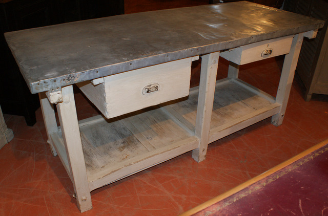 French Zinc Topped Bakers Table.