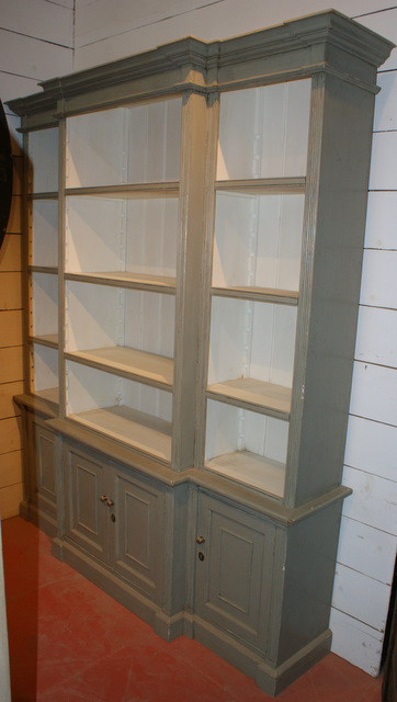 Custom Built Break Front Bookcase.