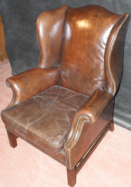 Brown Leather Wing Chair