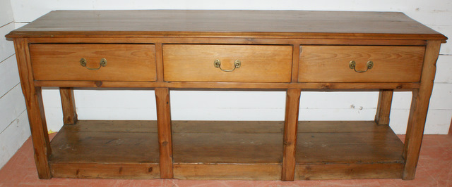 Large Early 19th C Pine Dresser Base