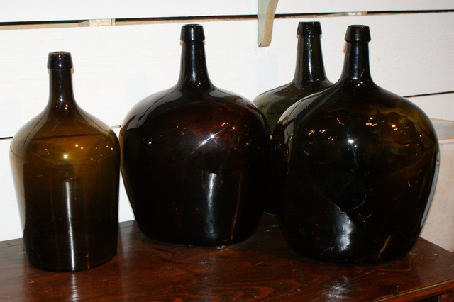 French Green Glass Bottles