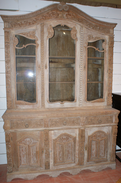 Bleached Carved Oak Bookcase