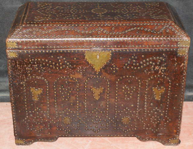 Brass & Leather Covered Trunk