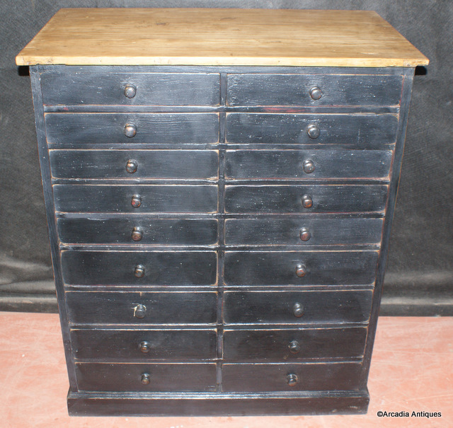 Tall Bank of 18 Drawers