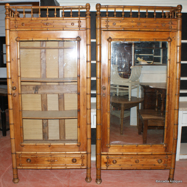 Pair of Faux Bamboo Bookcases