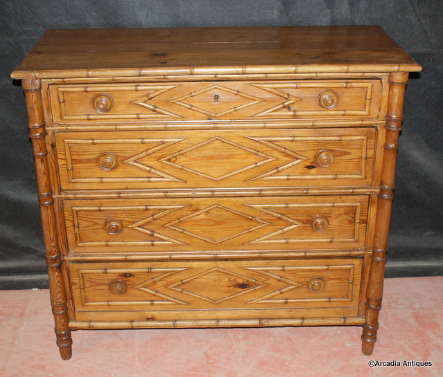 French Bamboo Chest of Drawers