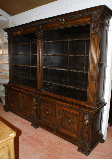 Italian Walut Carved Bookcase