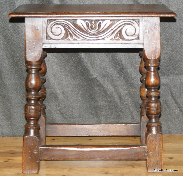 1920's Carved Oak Joint Stool