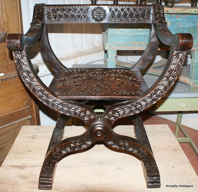 Carved Walnut Throne Chair