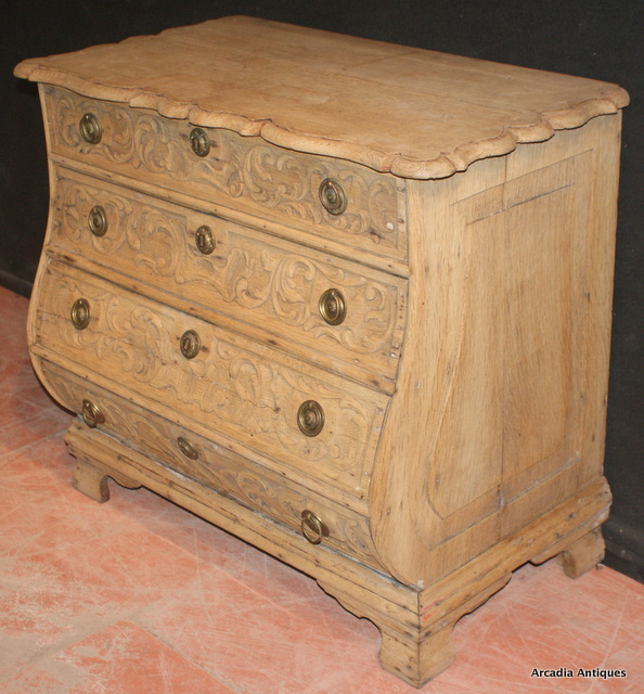 carved and bleached oak commode antique commodes. Black Bedroom Furniture Sets. Home Design Ideas