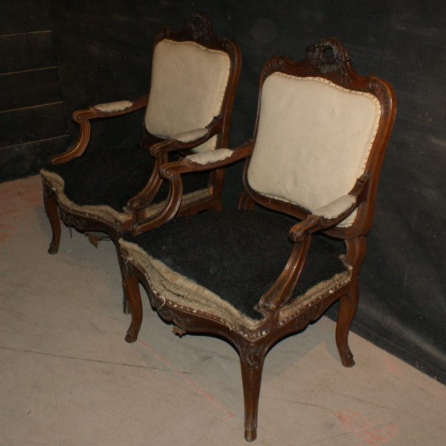 Antique Walnut Fauteuils