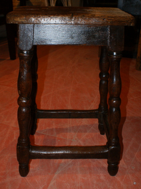 Antique Fruitwood and Pine Bar Stool