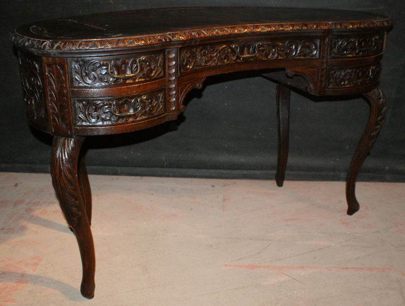 Victorian Carved Oak Desk