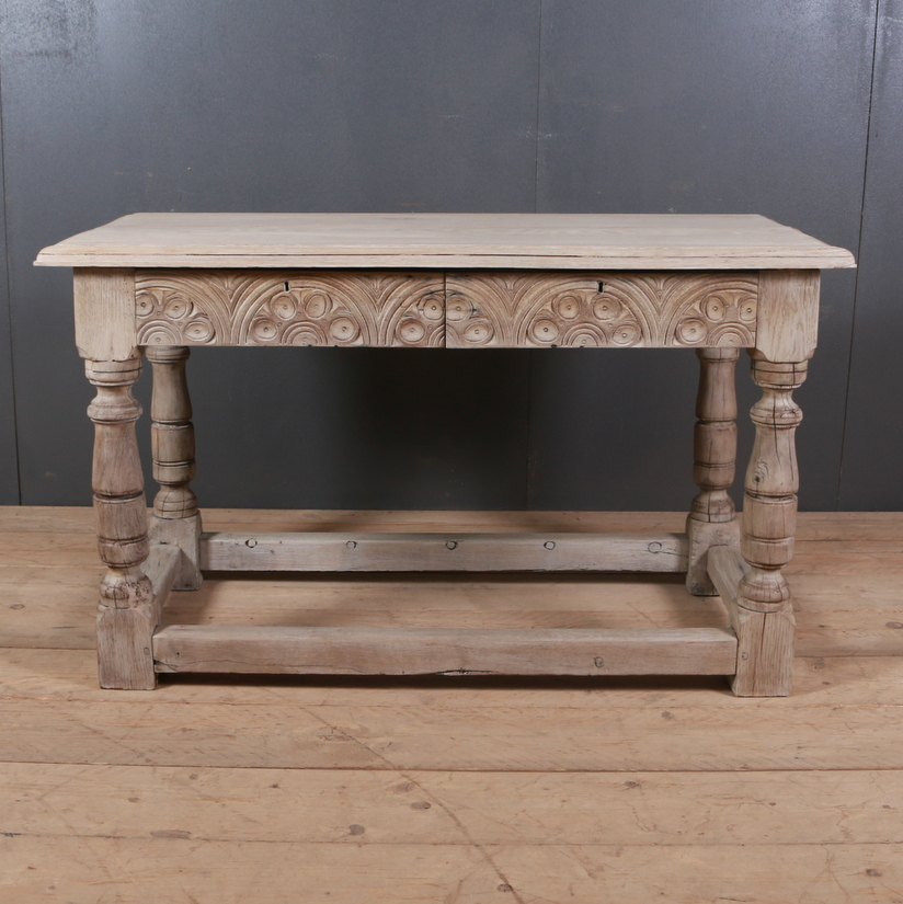 English Carved Oak Side Table