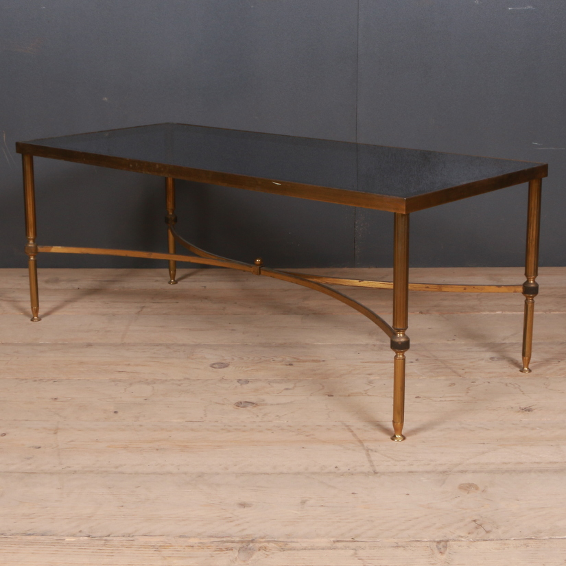French Oak and Brass Coffee Table
