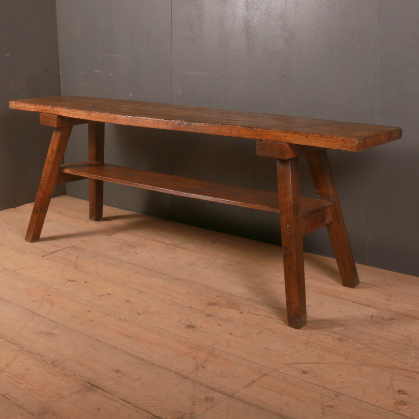 French Oak and Pine Trestle Table