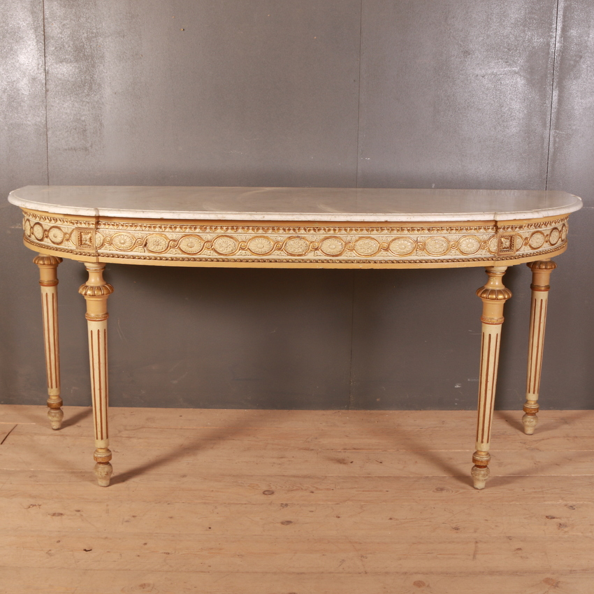 French Original Painted Bowed Console Table