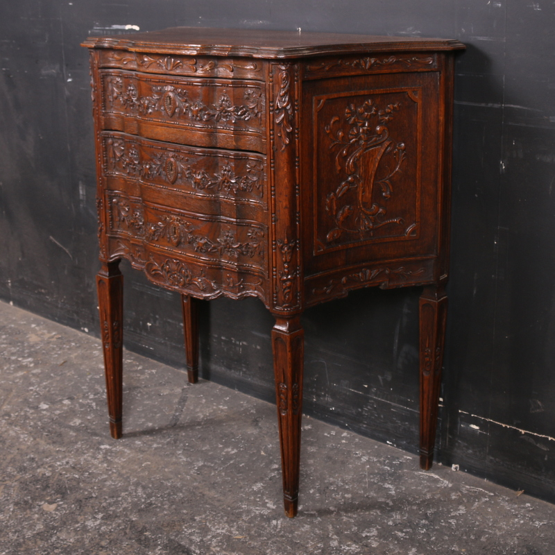 Carved Oak Commode