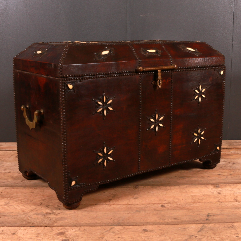 Moroccan Leather Bound Coffer