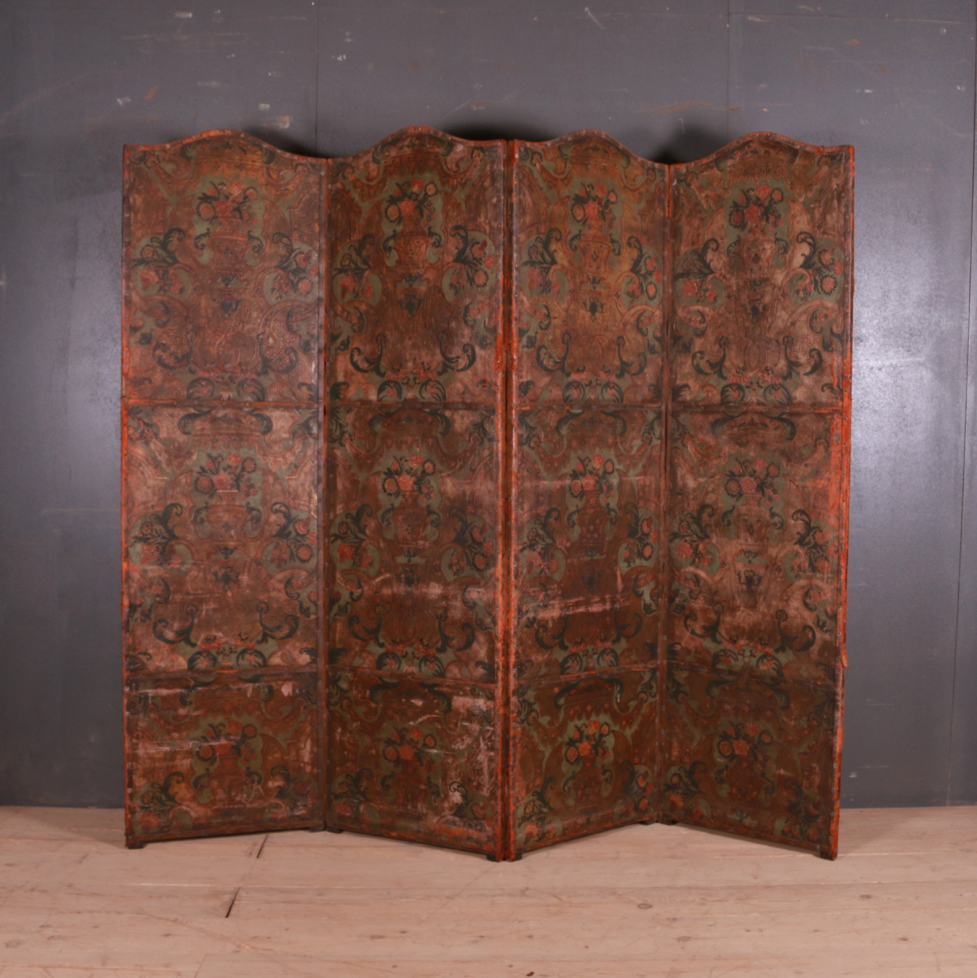 Italian Painted Leather Screen
