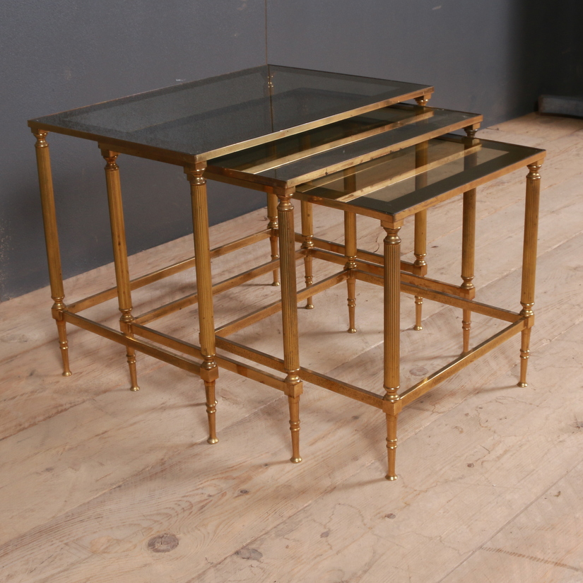 Nest of Brass and Glass Occasional Tables