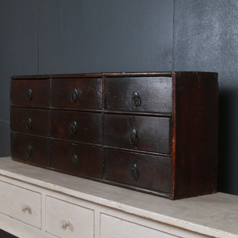 Oak Bank of Drawers