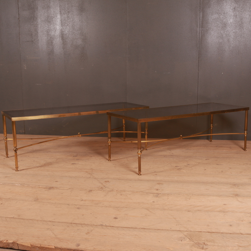 Pair of 1950s Brass and Glass Low Tables
