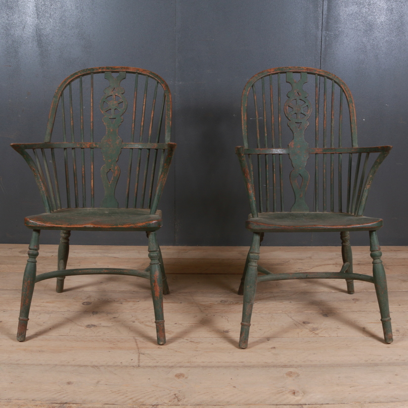 Pair of 19th C Painted Windsor Chairs