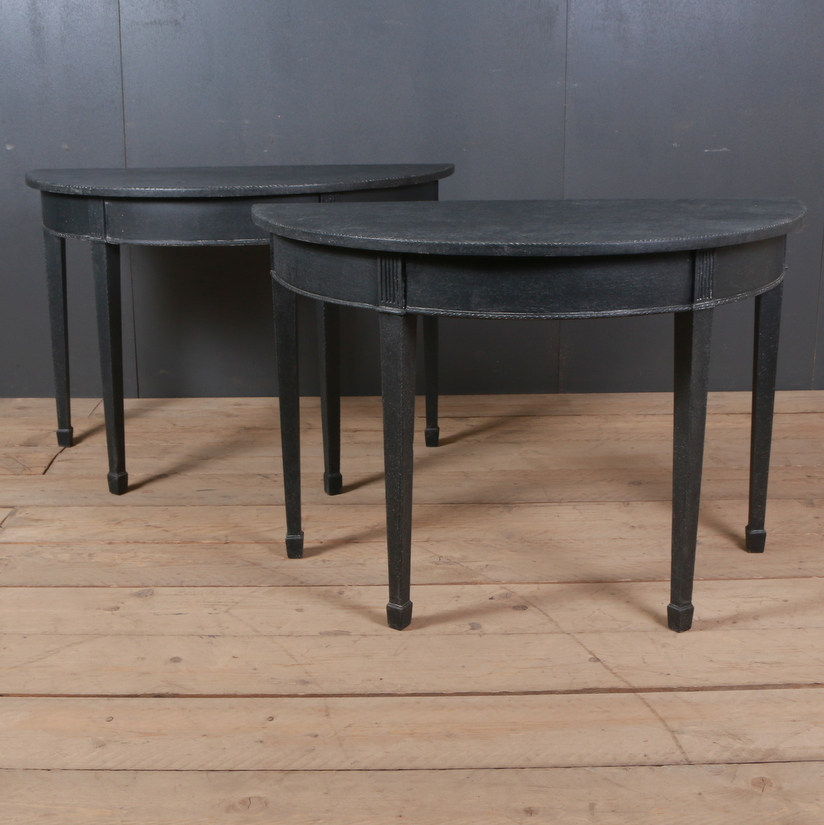 Pair of English Demi-Lune Console Tables