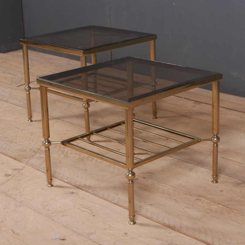 Pair of French Brass and Glass Lamp Tables